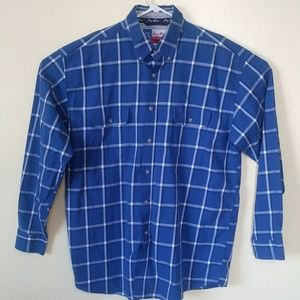 George Straight Wrangler Blue Plaid Shirt